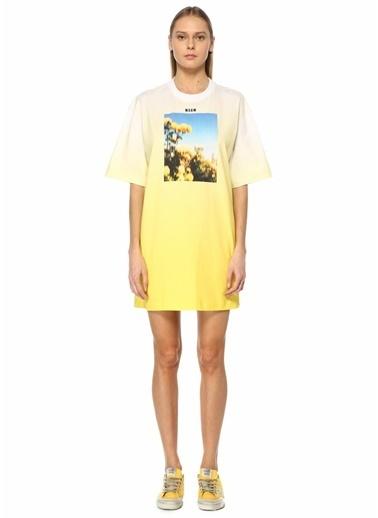 MSGM MSGM  Baskılı Degradeli Mini Elbise 101602545 Sarı